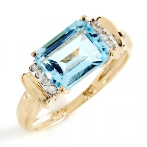 Elegant 2.58ctw Natural Blue Topaz and Genuine Diamond Solid Polished Yellow Gold Ring FREE Shipping