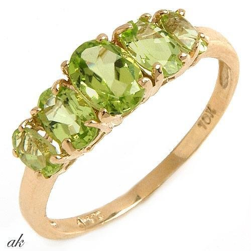 Elegant Genuine Peridot Ladies Band, 3.45ctw., Solid Yellow Gold FREE Shipping