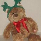 """18"""" Plush Brown Hallmark Musical Teddy Bear Reindeer Ears """"Jingle Bells"""" Clean"""