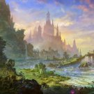 Psychedelic Trippy (Fantasy Castle By The Sea) Art Silk Fabric Cloth Poster New