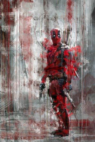 Doom Guy vs Deadpool  Giclee Marvel Watercolor Art Print Silk Fabric Poster New