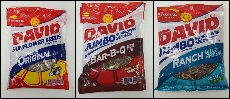 2 DAVID'S Sunflower Seeds Original, Bar BQ, Ranch Flavors - Mix & Match