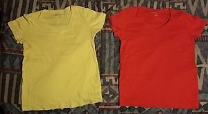 Eddie Bauer, 2 Short Sleeve Shirts  Yellow and Red