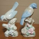 2 Painted Ceramic Blue Bird Figurines