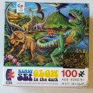 """100 Piece Ready Set Glow Dinosaur 15x11"""" Glow in the Dark Puzzle 1604-19"""