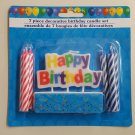 7 Piece Decorative Happy Birthday Candles -  Red and Blue