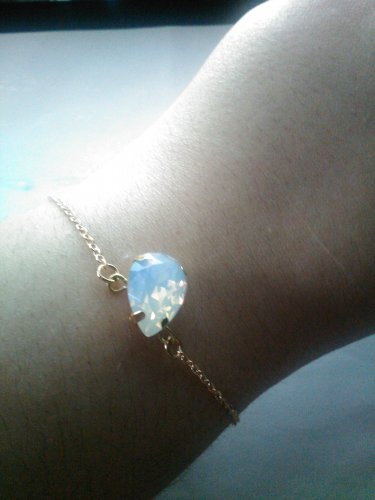 gold filled chain and opal crystal bracelet