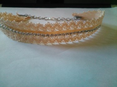 light peach stretch fabric choker with crystals