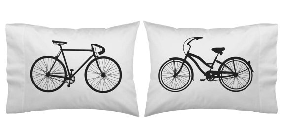 Couples Gift Wedding Gift Couples Pillowcases His Her Bikes