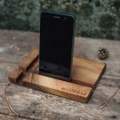 iPad docking station, iPhone stand, cell phone stand, iPad wood support, table wooden organizer