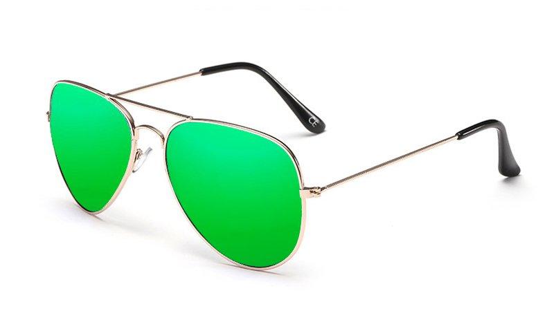 Sensolatino Italian Polarized Sunglasses Aviator Aviano Gold L Green