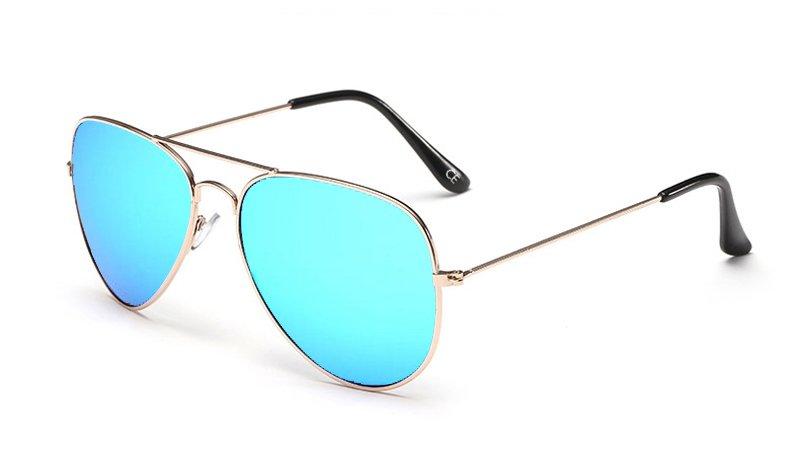 Sensolatino Italian Polarized Sunglasses Aviator Aviano Gold L Ice Blue