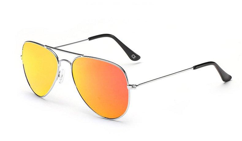Sensolatino Italian Polarized Sunglasses Aviator Aviano Silver L Orange