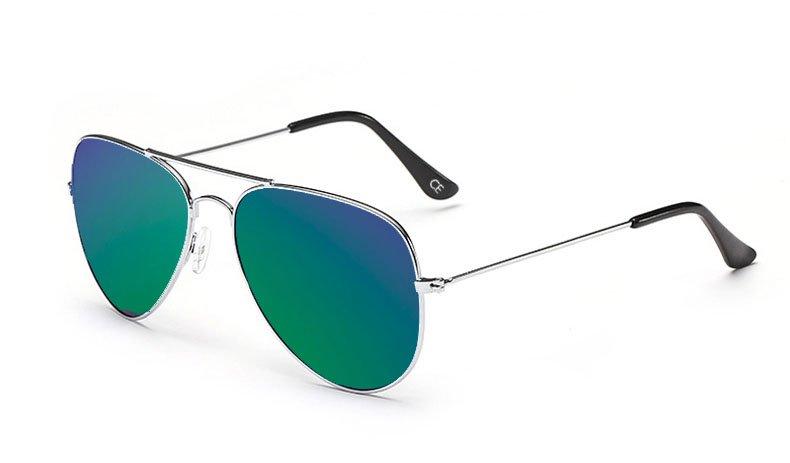 Sensolatino Italian Polarized Sunglasses Aviator Aviano Silver S Blue Green