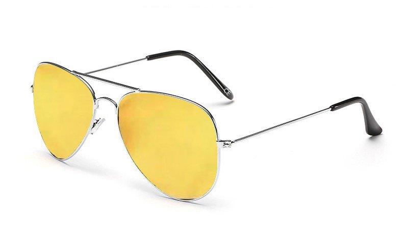 Sensolatino Italian Polarized Sunglasses Aviator Aviano Silver S Gold