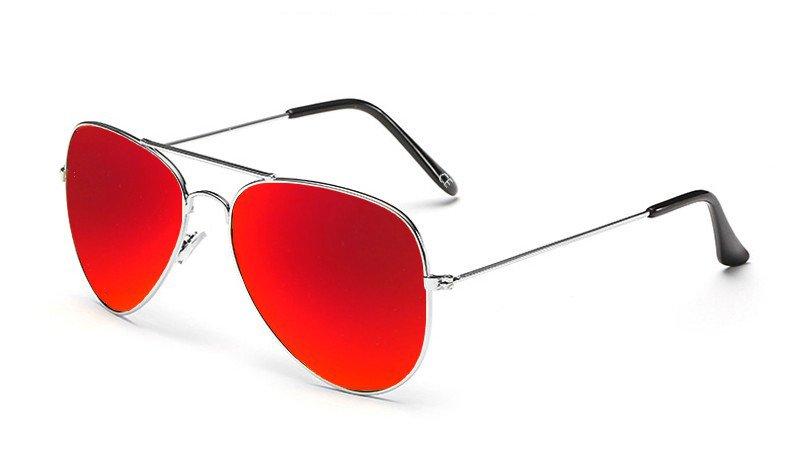 Sensolatino Italian Polarized Sunglasses Aviator Aviano Silver S Red