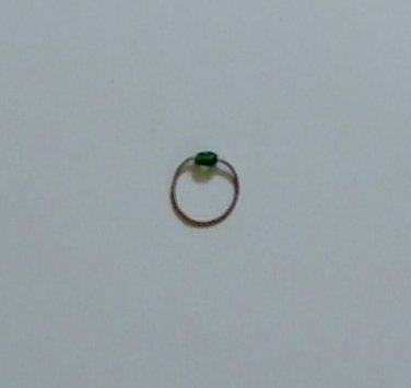 Guitar String Ring with Green Bead