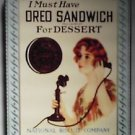 Nabisco 16 ounce Oreo Cookie Tin featuring 1918 Advertisement 1986