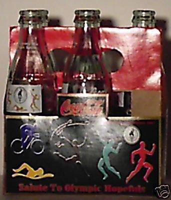 Coke Coca Cola 1996 Olympics 5 Bottles 8oz w/ caddy