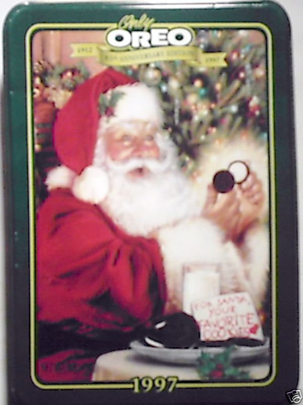 Oreo 1997 Limited Edition Christmas Tin w/ Santa