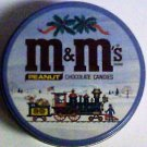 M&M 's Round metal tin featuring Christmas holiday scene