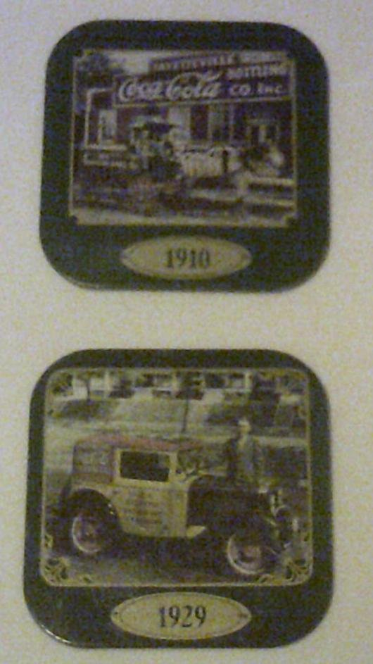 Coke Coca Cola Coasters set of 2 feauturing Vintage Advertisements