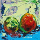 Modern original acrylic painting fresh fruit pear abstract still life-new