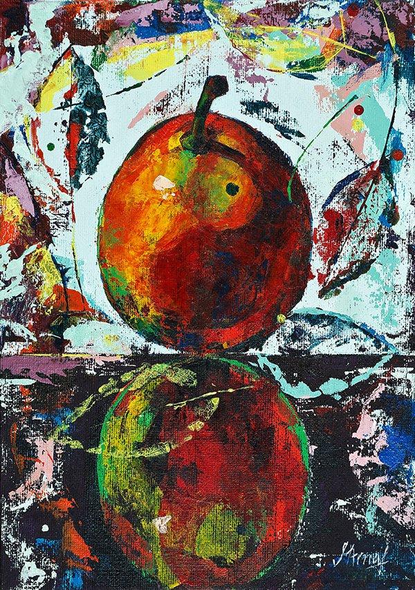 Modern original acrylic painting fresh fruit pear abstract still life-new