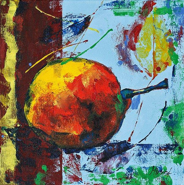 Modern original acrylic painting fresh fruit pear abstract still life
