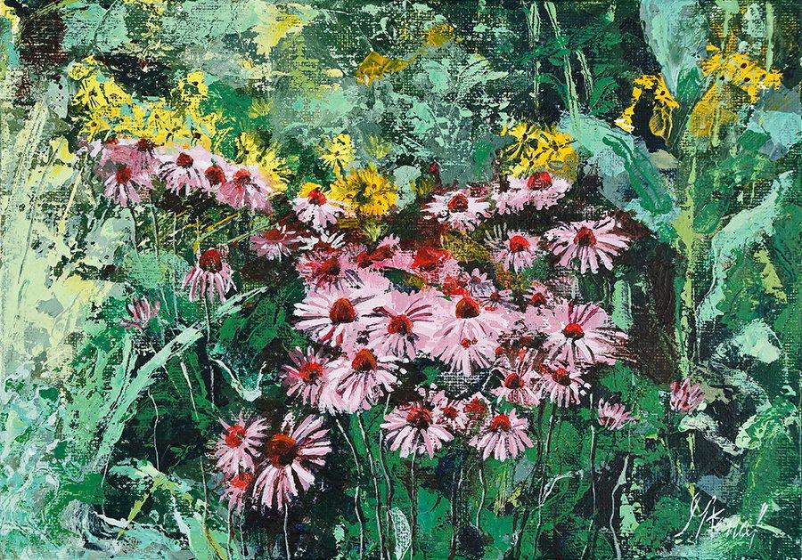 Modern original acrylic painting of flowers health-echinacea
