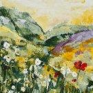 Modern original wall art painting daisies poppies field flowers landscape-new
