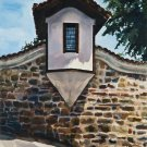 Original oil painting renaissance architecture small window house stone wall