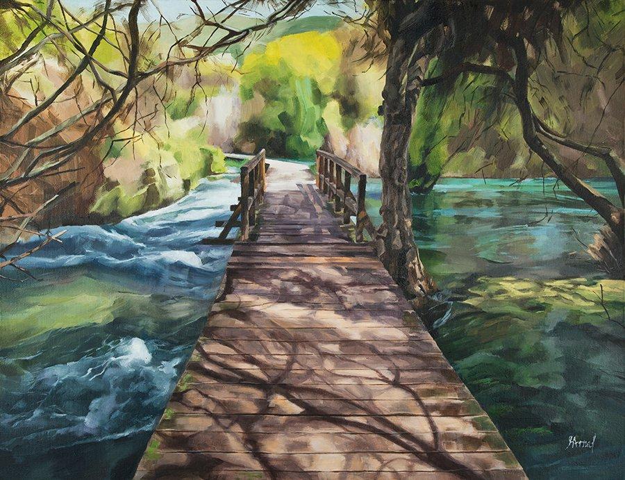 Original oil landscape wooden bridge spring river water reflection-new