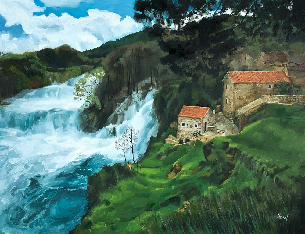 Original oil landscape waterfall spring river water mill waves old house architecture-new