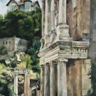 Original oil painting ancient amphitheater old architecture landscape stone ruins-new