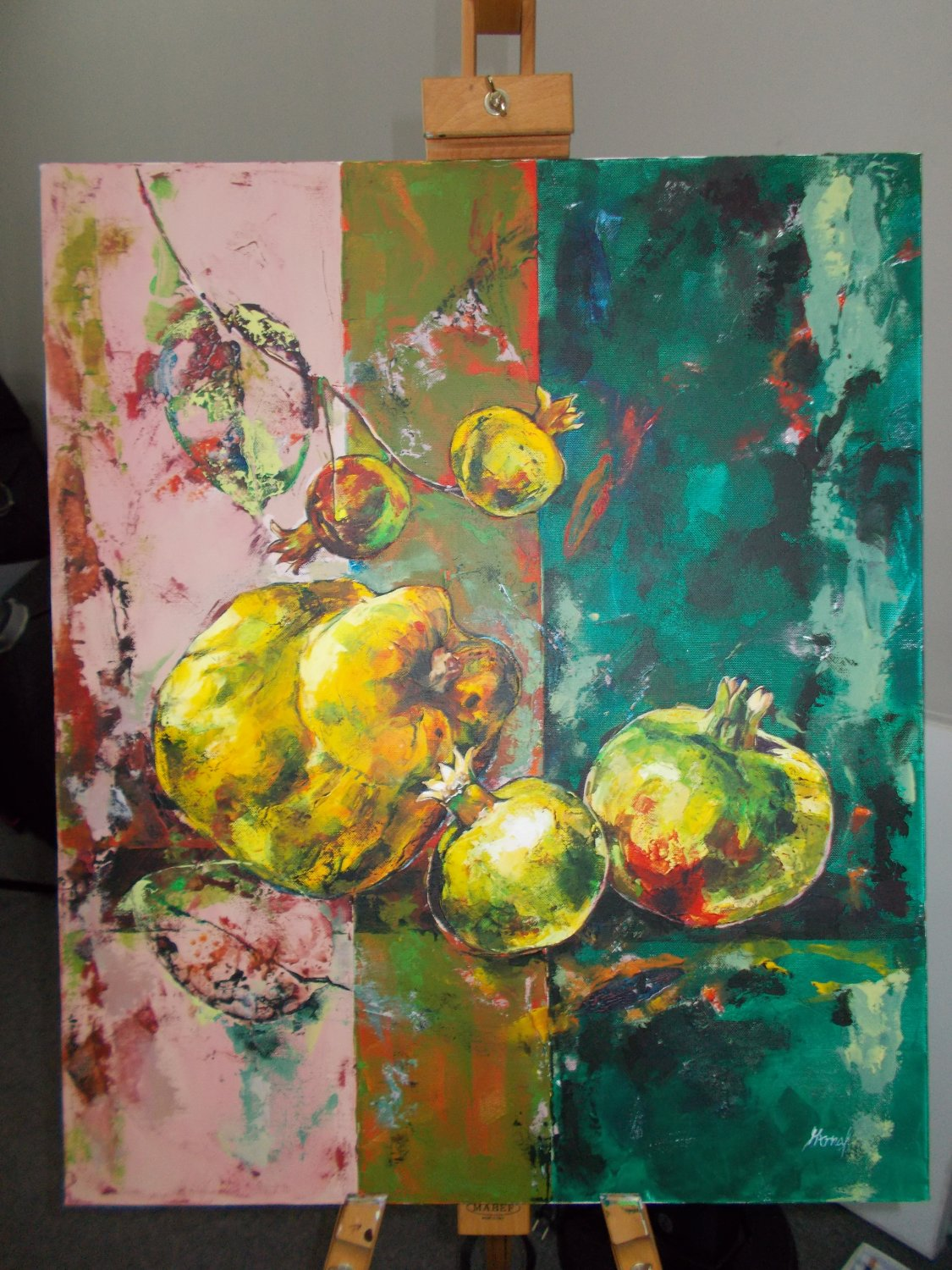 Modern original acrylic painting quince and pomegranate abstract still life