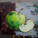 Modern original acrylic painting cut green apple abstract still life-new