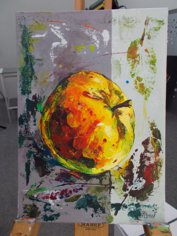 Modern original acrylic painting fresh fruit  juicy apple abstract still life-new