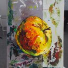 Modern original acrylic painting fresh fruit  juicy apple abstract still life-new
