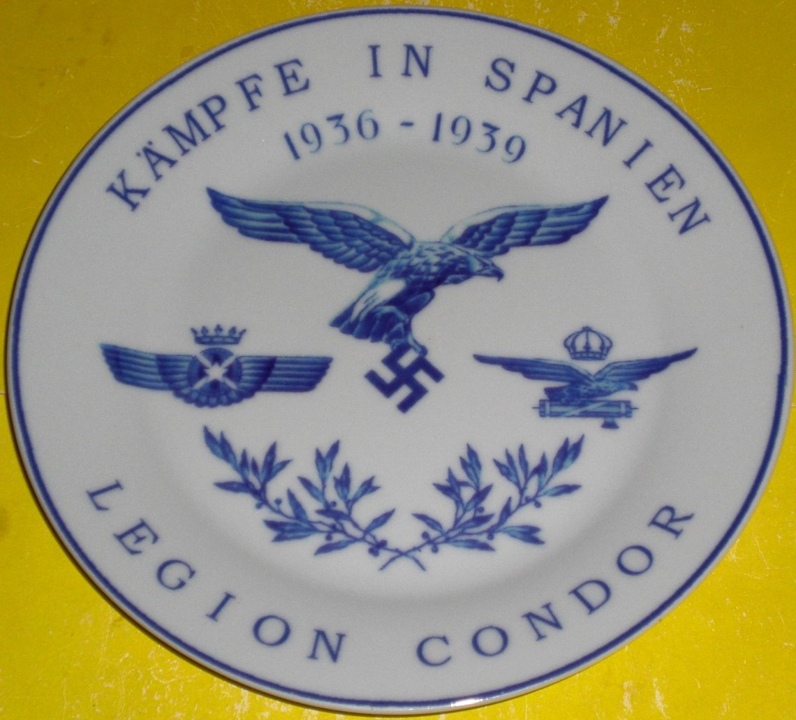 Porcelain plate with underglaze pattern. Spain. Germany. Legion Condor. Meissen.