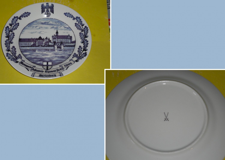 Porcelain regimental plate with underglaze pattern. Marienburg. Infantry. Meissen.