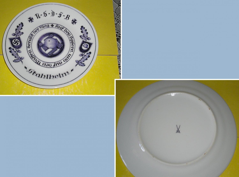 Germany. Porcelain plate with underglaze pattern. NSDFB - Stahlhelm. Meissen.