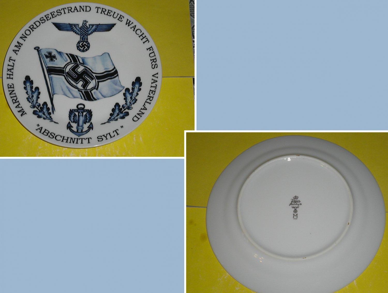 Germany. Porcelain plate with underglaze pattern. Navy. Brand Jäger. Mark.