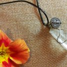 Ward off Evil Wire wrapped quartz crystal with st benedict charm pendant necklace