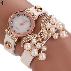 Women's Butterfly Faux Pearls Bracelet Faux Leather Rhinestone Wrap Wrist Watch