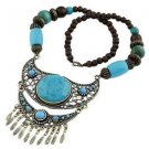 Waterdrop Ethnic Turquoise Inlay Carved Tibetan Silver Necklace