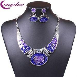 Moon Enamel Jewelry Set Geometric Necklace Set