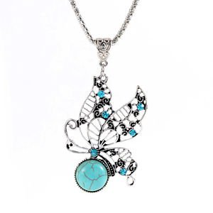 LAST ONE-Turquoise Stone Butterfly Pendant