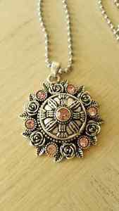 Pink Crystal Snap Button Pendant w/Chain