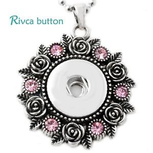 Pink Crystal Snap Button Pendant